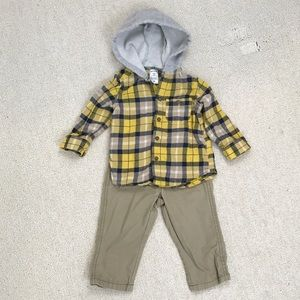 Carters Flannel Hooded Button Down with Pants